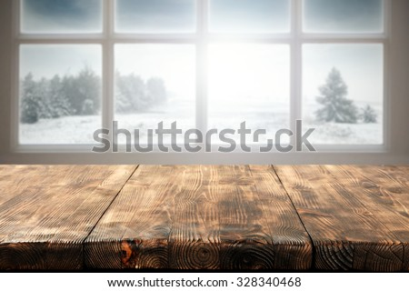 winter window and wooden table...