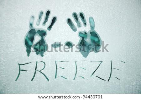 Winter window frosty background