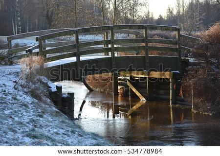 winter, winter landscape, winter background, winter bridge, small river #534778984