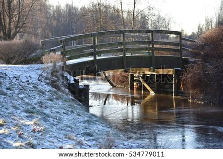 winter, winter landscape, winter background, winter bridge, small river #534779011