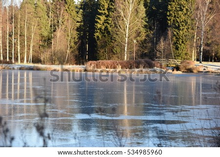 winter, winter landscape, winter background, winter bridge, small river #534985960
