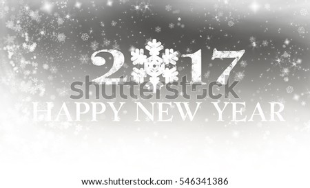 Winter with falling snow and happy new year 2017 #546341386