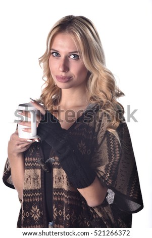 07db8f9dc7a2 Free photos Happy blonde in winter clothes holding mug on white ...