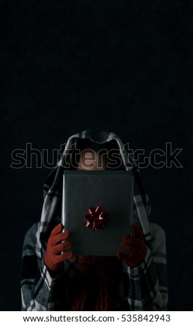 stock photo: woman with christmas present