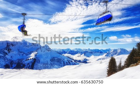 Winter wonder land in Austria as seen from chairlift #635630750