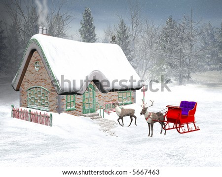 Winter wonderland, christmas time,  santa's cottage.  Reindeer with sledge waiting in front in snow.