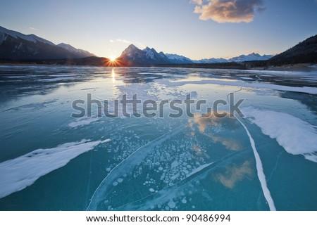 Winter Wonderland in Abraham Lake, Alberta, Canada