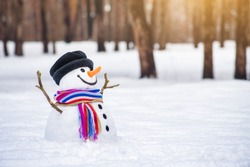 Winter wonderland with a funny smiling snowman in a snowy park. White copy space for greeting or festive text