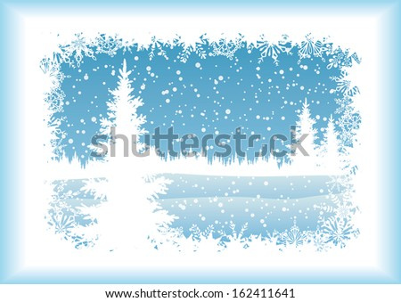 Winter woodland landscape with the Christmas tree and snowflakes, blue silhouettes on white background