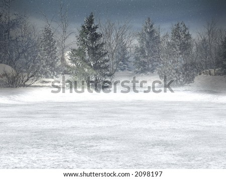 Winter, xmas; christmas landscape with snowfall,  copy space for wishes.