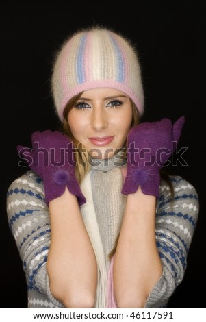 winter young woman - stock photo