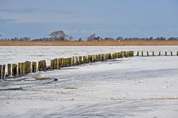 Winterlandscape with a frozen waterway