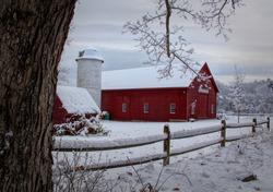 Winters coming Red barn, Deerfield, NH