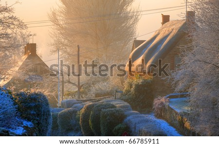 Winters morning in the Cotswold village of Ebrington, Gloucestershire, England.