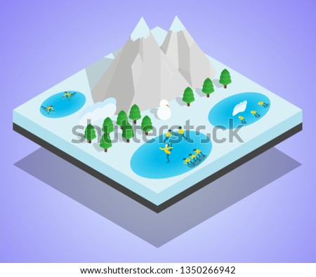 Wintersport concept banner. Isometric banner of wintersport concept for web, giftcard and postcard