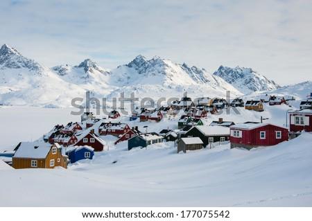 Wintertime in Tasiilaq, East Greenland.