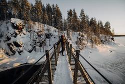 Winterwonderland. Holidays in Finland Lapland. Beautiful snowlandscape.