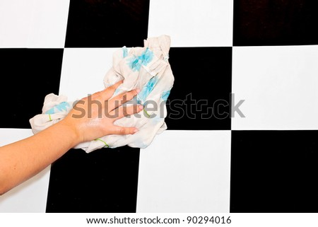 wiping wall checkerboard pattern