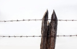 wire barebed fence with old wood on white background