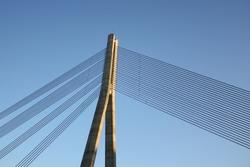 Wire bridge architecture element shot in Riga, Latvia.