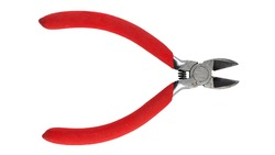 Wire cutter pliers with red handles isolated on white background. Hand tools. File contains clipping path.