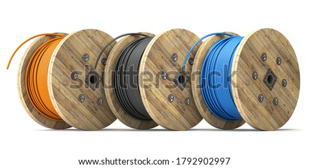 Wire electric cable of different colors on wooden coil or spool isolated on white background. 3d illustration Foto stock ©