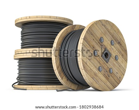 Wire electric cable on wooden coil or spool isolated on white background. 3d illustration Foto stock ©