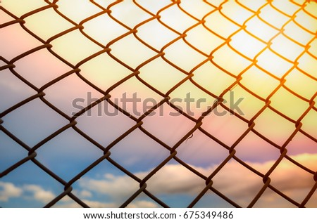 wire fence or metal net on...