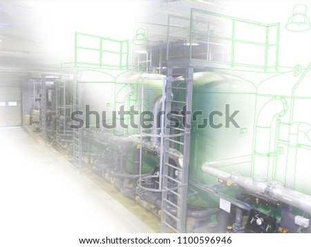 wire-frame computer cad design concept image water treatment tanks at power plant. industrial water treatment tanks in the factory combined with drawing, smart plant solution idea                      #1100596946