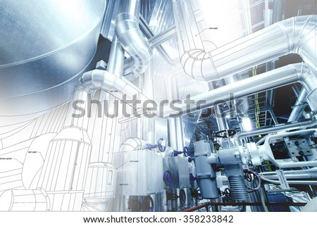 wire-frame design of pipelines mixed with photo #358233842