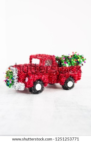 Wire Framed Red Tinsel Christmas Truck #1251253771
