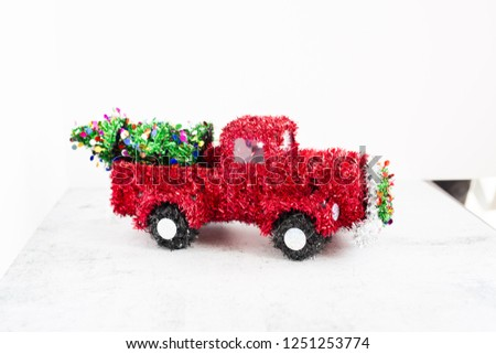 Wire Framed Red Tinsel Christmas Truck #1251253774