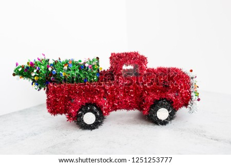Wire Framed Red Tinsel Christmas Truck #1251253777