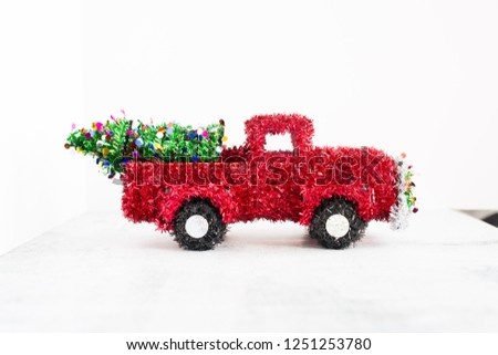 Wire Framed Red Tinsel Christmas Truck #1251253780