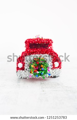 Wire Framed Red Tinsel Christmas Truck #1251253783