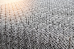 Wire mesh steel for reinforcing concrete.