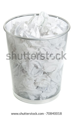 Wire Mesh Trash Can on White. Full of crumpled paper, Top Angle view.