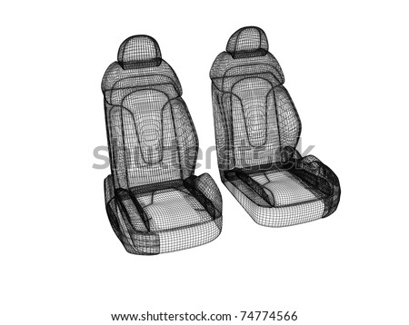 Wire model of two car seats