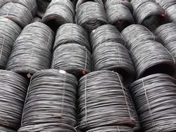 wire rod in coil or WRIC loaded in cargo hold of a bulk carrier or cargo ship.
