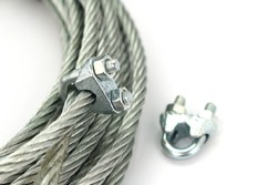 Wire rope with a lock wire rope on a white background