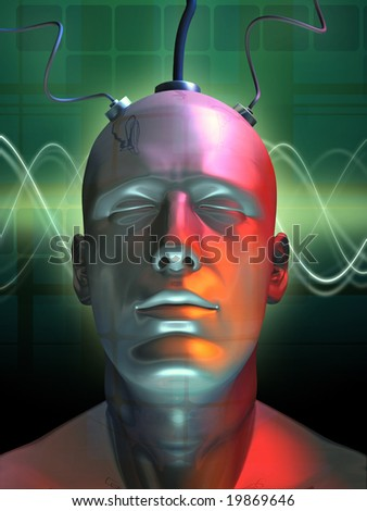 Wired android head. Digital illustration.