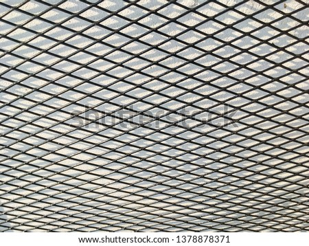 Wired fence in shadow pattern on white wall background diamond-shaped grid, grid background. #1378878371