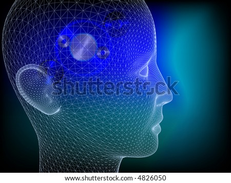 Wired human head with wheels inside to illustrate the thinking process