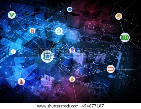 wired icons of various electric component or function and background of electric circuit board, abstract image visual #454677187