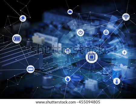 wired icons of various electric component or function and background of electric circuit board, abstract image visual #455094805