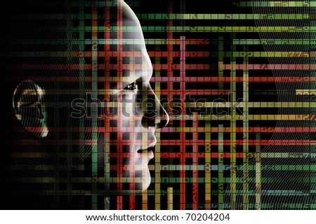 Wired man and computer code. 3d abstract futuristic illustration.