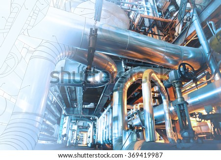 wireframe design of Equipment, cables and piping as found inside of a modern industrial power plant #369419987