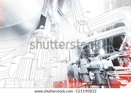 wireframe design of pipelines mixed with photo                #521190832