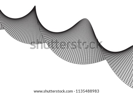 Wireframe Mesh Sinusoidal Plane. Trigonometry. Connection Structure. Digital Data Visualization Concept. 3d render Illustration.