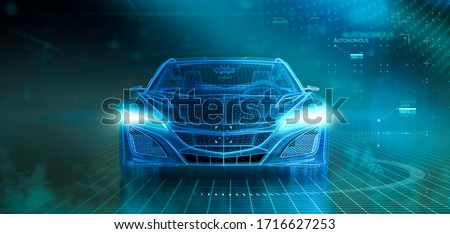 Wireframe of modern car with hi tech user interface details in dark environment, font view (3D Illustration) Photo stock ©